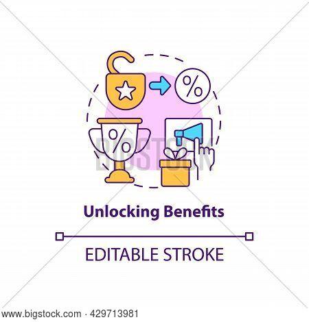 Unlocking Benefits Concept Icon. Loyalty Program Gamification Abstract Idea Thin Line Illustration.