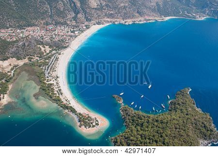 Oludeniz from the air, Fethiye, Turkey