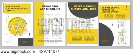 How To Boost Customer Behavioral Loyalty Yellow Brochure Template. Flyer, Booklet, Leaflet Print, Co