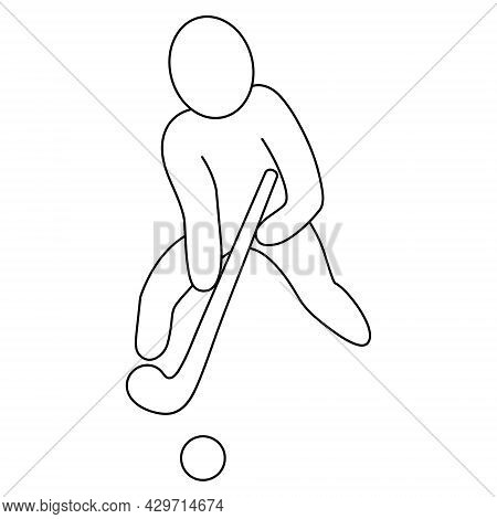 The Athlete Hits The Ball With A Stick. Sketch. Vector Icon. Man Plays Field Hockey Team Sport Game.