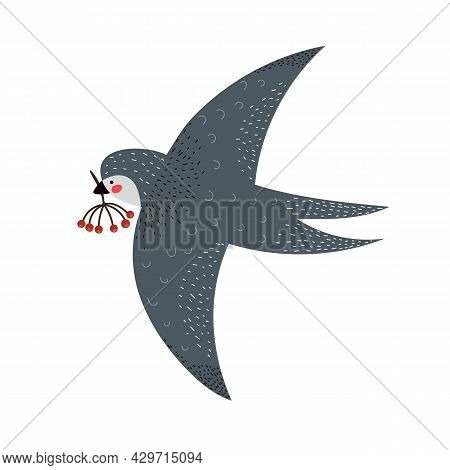 Cartoon Swallow, Twigs. Colorful Vector Illustration For Kids, Flat Style. Baby Design For Card, Pri