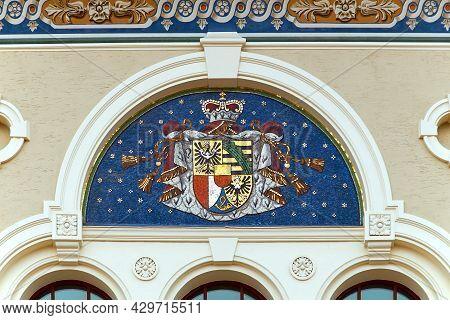 Coat Of Arms Of Liechtenstein On The Wall Mosaic