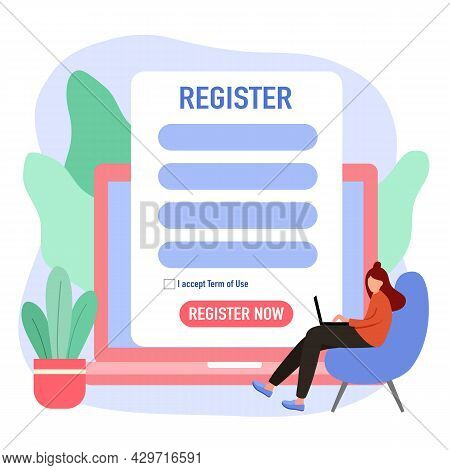 Woman Submitting Online Registration Form On Laptop Computer In Flat Design.