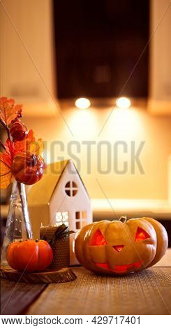 Kitchen Decoration For Halloween And Autumn - Luminous Cardboard House, Candle, Bouquet With Autumn