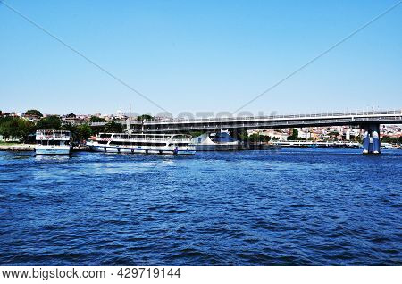 Panoramic View Of The Bosphorus. View Of The Strait, Large Bridge And Pleasure Ships. July 11, 2021,