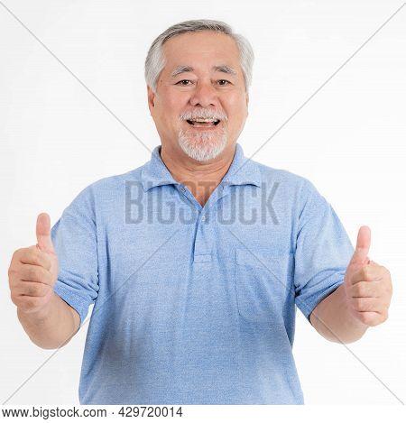 Portrait Asian Senior Man , Old Man , Feel Happy Good Health Isolated On White Background - Lifestyl