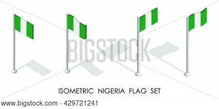 Isometric Flag Of Nigeria In Static Position And In Motion On Flagpole. 3d Vector
