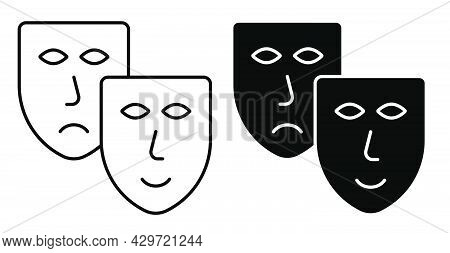 Linear Icon. Comedy And Tragic Theatrical Masks Together. Theatrical Premieres, Circus Poster. Simpl