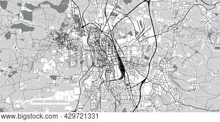 Urban Vector City Map Of Ceske Budejovice, Czech Republic, Europe