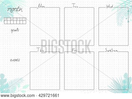 Printable A4 Paper Sheet, Minimalist  Bullet Journal Page With Blank Week Planner, Goals, Events On