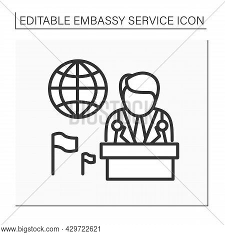 Ambassador Line Icon. Diplomatic State Representative In Foreign State Or Worldwide Organizations. N