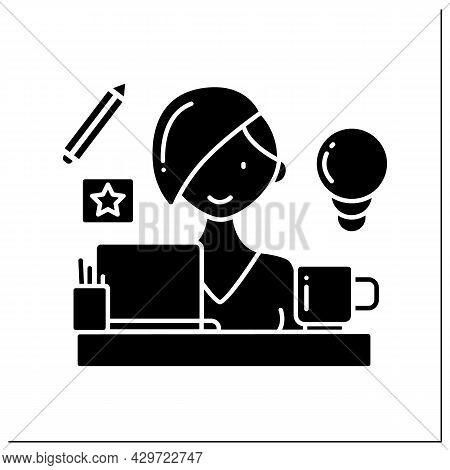 Woman Designer Glyph Icon. Female Graphic Designer Working On Computer At Home. Remote Work. Having