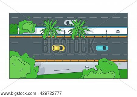 Straight Road To City Centre With Cars. Vector Autos And Green Lines Linear Art Style. Main Street T
