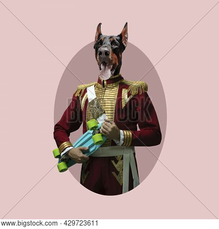 Retro Portrait. Model Like Medieval Royalty Person Headed Of Dogs Head In Vintage Clothing. Concept