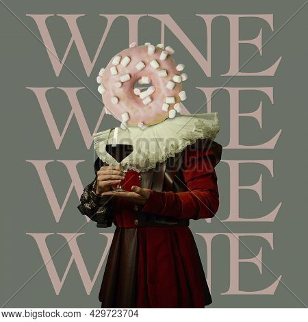 Tasting Wine. Model Like Medieval Royalty Person In Vintage Clothing. Concept Of Comparison Of Eras,