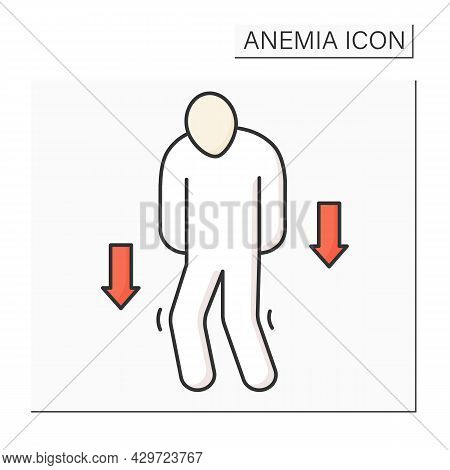Anemia Color Icon. Disease Symptoms.weakness. Low Hemoglobin, Fast Tiredness. Health Protection Conc