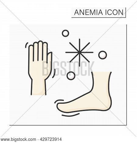Anemia Color Icon. Disease Symptoms. Cold Hands And Feet. Low Hemoglobin. Health Protection Concept.