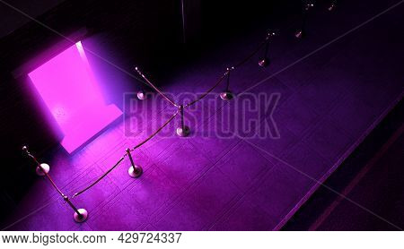 An Evening Scene Outside A Nightclub Entrance Emitting A Pink Light And An Empty Queue Demarcated Wi