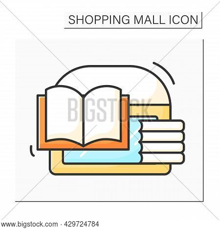 Bookstore Color Icon. Store With Different Trendy, Classical And Modern Books. Buyer Can Sell Culina