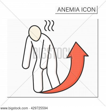 Anemia Color Icon. Disease Symptoms.extreme Fatigue. Weakness. Little Strength Or Energy. Health Pro
