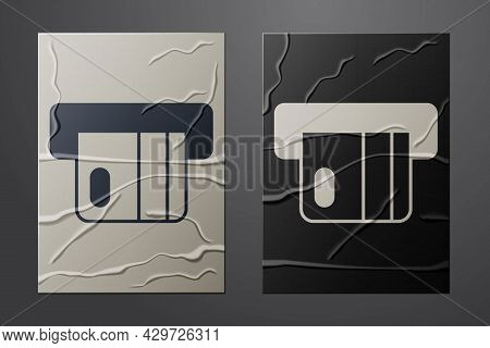 White Credit Card Inserted In Card Reader Icon Isolated On Crumpled Paper Background. Atm Cash Machi