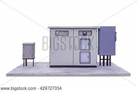 Standalone Electrical Switchboard For Small Business, Main Substation With Breaker And Power Button