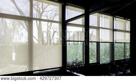 Blind Window Interior Living Room Design, Curtain Roller Decorate To Protect Sunlight In Afternoon