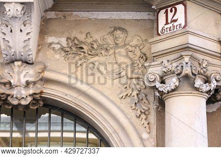 Vienna, Austria - September 9, 2011: Historic Sign At Graben Street In Old Town Of Vienna, Austria.