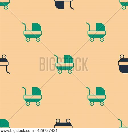 Green And Black Baby Stroller Icon Isolated Seamless Pattern On Beige Background. Baby Carriage, Bug