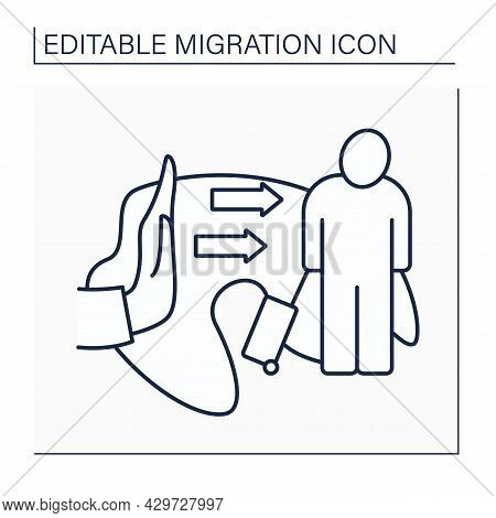 Forced Migration Line Icon. Forced Refugee Movements And Internally Displaced People. Immigration Co