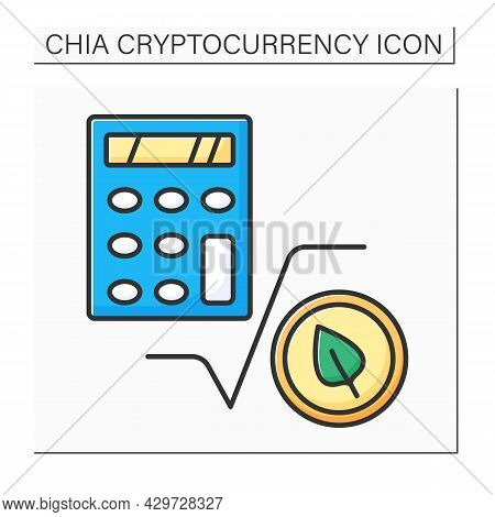 Chia Calculators Color Icon. Calculating Probable Earnings In Chia Cryptocurrency. Digital Money Con
