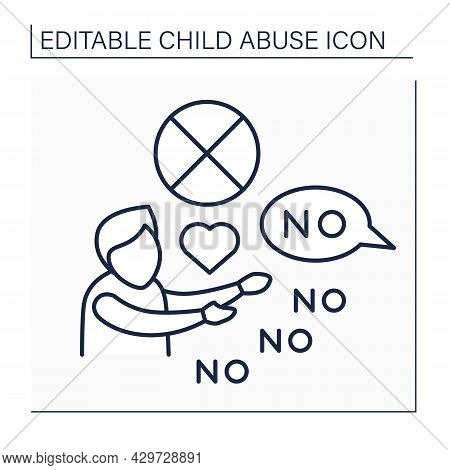 Limit Physical Contact Line Icon. Avoiding Love Shows, Communication With Child. Psychological Abuse
