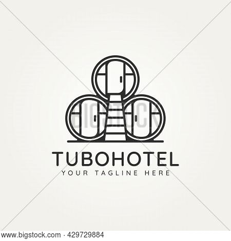Mexican Tubohotel Minimalist Line Art Logo Icon Template Vector Illustration Design. Simple Modern H