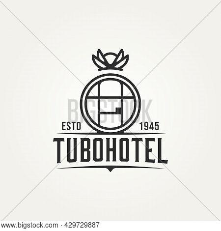 Tubohotel Minimalist Line Art Logo Icon Template Vector Illustration Design. Simple Modern Hotel, Re