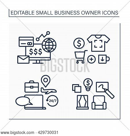 Small Business Owner Line Icons Set. Printing On Products, Interior Designer, Ecommerce Business, Tr