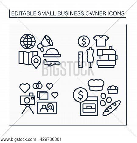 Small Business Owner Line Icons Set. Individual Entrepreneur. Baking, Wedding Photographer, Tour Gui