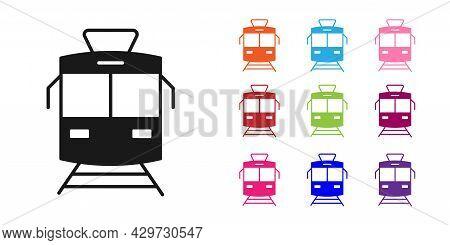 Black Tram And Railway Icon Isolated On White Background. Public Transportation Symbol. Set Icons Co