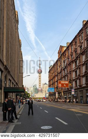 Shanghai, China - September 2019: The Oriental Pearl Radio & Television Tower, The Tallest Structure