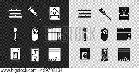 Set Cocaine Or Heroin Drug, Syringe, Cigarettes Pack Box, Buying Drugs Online On Phone, Plastic Bag