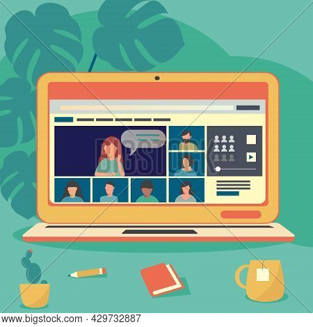A Video Conference That Connects People Together. Employees Who Are Studying Or Meeting Online. Flat