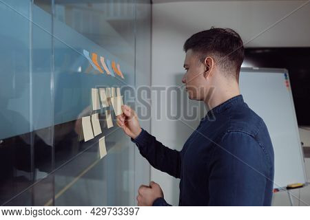 Project Manager Checking Workflow Of Projects On Kanban Board In Office