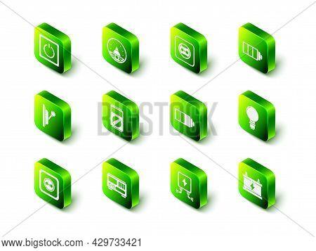 Set Ampere Meter, Multimeter, Voltmeter, Electrical Outlet, Battery Charge Level Indicator, Light Bu