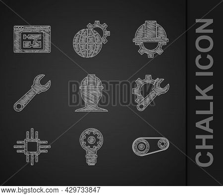 Set Worker Safety Helmet, Light Bulb And Gear, Timing Belt Kit, Wrench Spanner, Processor With Micro