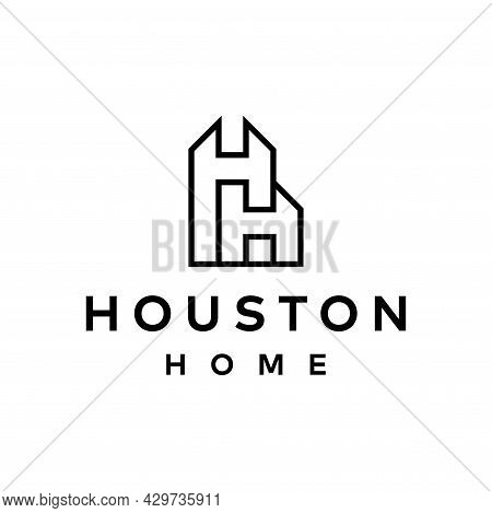 Clean And Modern Wordmark Logo About Letter H And Real Estate. Eps 10, Vector.