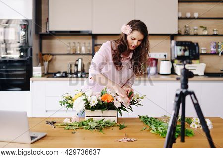 Young Female Florist Record Video Tutorial Of Floral Compositions Design On Camera, Woman Interior D