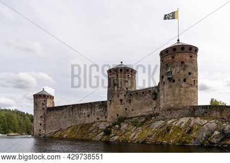 Savonlinna, Finland - 2 August, 2021: View Of The Olofsborg Castle In Savonlinna In Southern Finland