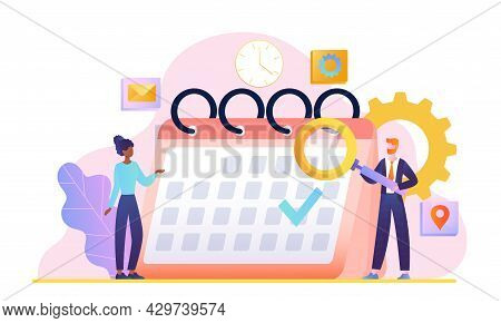 Male And Female Characers Standing Near Calendar With Magnifier. Concept Of Entrepreneurship And Cal