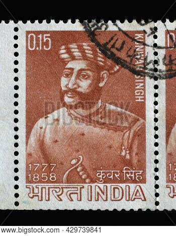 ZAGREB, CROATIA - SEPTEMBER 11, 2014: Stamp printed in India shows Kunwar Singh (1777-1858), Commemoration, circa 1966