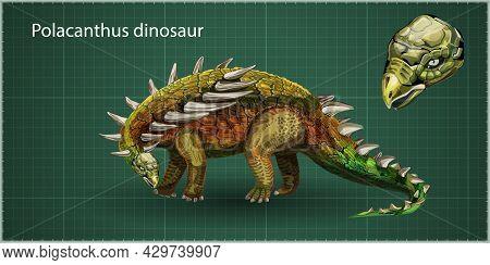 Vector Realistic Polacanthus Dinosaur Of Jurassic Period, Prehistoric Extinct Giant Reptile Cartoon
