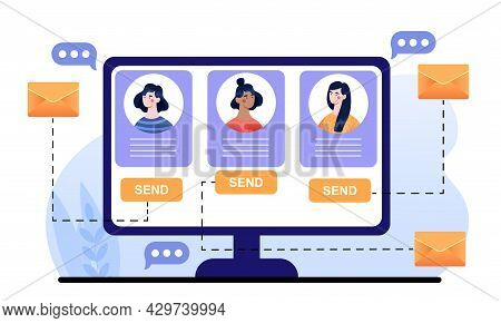 Profile Pictures Of Female Characters On Computer Monitor Screen Email Application. Concept Of Runni